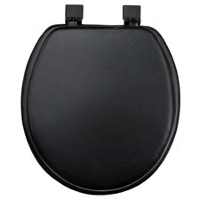 Toilet Seat Round Black Soft Vinyl Padded Cushioned Standard Bathroom Cover