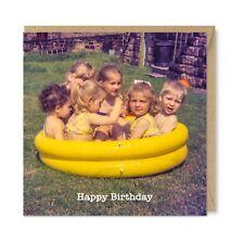 Funny Nostalgic Vintage Retro Birthday Card, Hot Tub Kids Party 1970s, Honovi