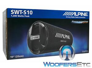 "ALPINE SWT-S10 10"" 1200W SUBWOOFER PORTED TUBE ENCLOSURE BASS SPEAKER & GRILLE"