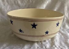 """Hartstone USA 1990 Blue Stars and Red Stripes 13"""" Huge Mixing Serving Bowl"""