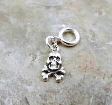 Sterling Silver Skull & Crossbones Charm fits Euro & Link Charm Bracelets - 0828
