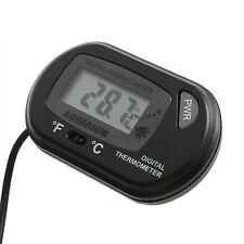 LCD Digital Fish Aquarium Thermometer Water Terrarium FREE Extra Batteries Black