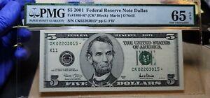 Fr.1988-K* $5 2001 Dallas STAR Federal Reserve Note PMG GEM 65 EPQ