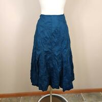 J. Jill Embroidered Cotton Midi Skirt Size 4 Blue A-Line Flare