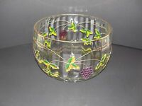 VINTAGE HANDCRAFTED CRYSTAL BOWL MADE IN ROMANIA GRAPE DESIGN WITH GOLD TRIM