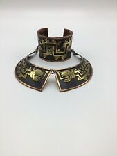 Vintage Mexican Quetzalcoatl Brass And Copper Bracelet and Choker