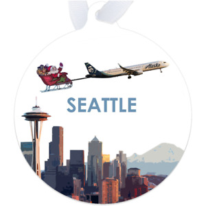 Alaska Air A321 over Seattle - Metal Ornament