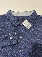 NWT Twenty Eight Degrees Men's Dress Shirt Blue Purple Geometric Size 2XLT Tall