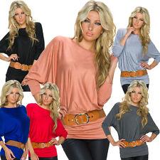 Women's No Pattern Hip Length Tops & Shirts