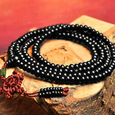 Buddhist Buddha Sandalwood Lucky Prayer Beads Mala Bracelet Black Necklace