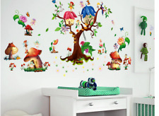 Butterfly Flower Fairy Wall Stickers Tree Mushroom Green Leaf Stickers Kids Room