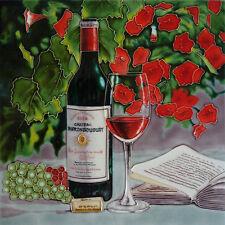 "Dipinto a mano ceramica piastrella muro ""Vino Rosso"" by Blossoms & Fiocchi arte 12 ""X 12"""