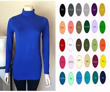 Women Cotton Spandex Long Sleeves Turtleneck Top Tunic Blouses S-4XL 32 Colors