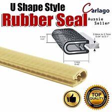 Beige Vehicle Door Edge Protector Trim Rubber Seal Strip Crashproof U Shape 3Ms