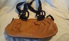 Tan & Brown Allison Scott Purse Bag Handbag 2 Handles Soft Leather 3 Sections EC