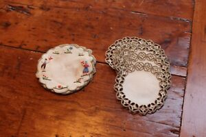 Vintage 2 Sets of 6 Linen Coasters 3""