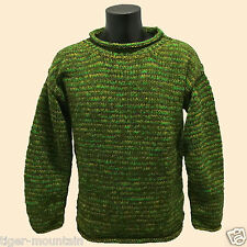 HIPPY BOHO CASUAL COSY HAND KNITTED MOTTLED GREEN CREW NECK JUMPER FAIR TRADE