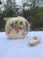 Vintage Handpainted Pottery Guild Of America Water Pitcher With Lid