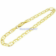 Mens 10k Yellow Gold Fancy Figaro Cuban Mariner Link Bracelet AGMBRP38