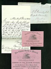 Man & Woman's Ticket - New England Society of Montreal w Letter, 1859
