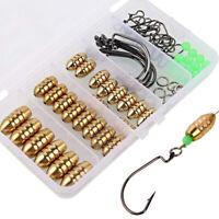 69Pcs Brass Sinker Weights Jig Hooks Set Fishing Sinkers Gold Bullet/Olive Shape