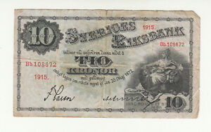 Sweden 10 kronor 1915 circ. @ low start