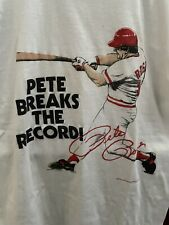 Vintage 1980's Pete Rose Baseball Record Breaking T-shirt Size L Reds Phillies