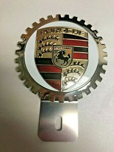 NEW Porsche Crest License Plate Topper - Chromed Brass - Great Gift Item!