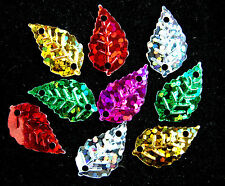 400 X Mixed Leaf Paillette Sequin Plastic Beads / Links 22 X17 Mm