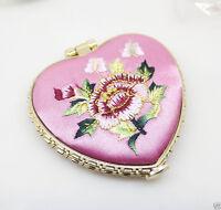 Pink Makeup Compact Heart Design Flower Cloth Satins Mirror