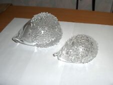 2 Vintage Hand Blown Art Glass Crystal Hedgehogs Figurines Paperweights NICE