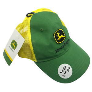 John Deere Unisex Youth Boys Girls Hat Cap Green Yellow Perfect Adjustable 5-10y