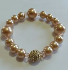 Bracelet Champagne Faux Pearl Rhinestone Focal Bead Stretch Pink Acrylic F66