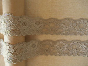 Taupe Grey Brown STRETCH Lace soft shaped textured floral design 2.5m / 5m /10m