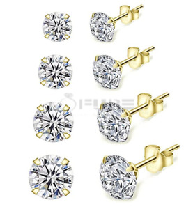 14ct Gold On Real 925 Sterling Silver Diamond Cut Sleeper Round Stud Earrings