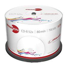 50 PRIMEON CD-R Stampabili 80 Minuti 700MB 52X Cake Box Print inkjet 2761105