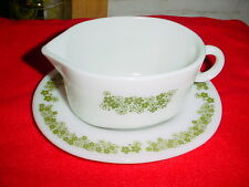 PYREX SPRING BLOSSOM GREEN PYREX GRAVY BOAT HEAVY MILK GLASS VGUC FREE SHIP USA