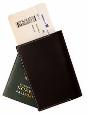 Whole leather passport holder case Black cover wallet credit card protect travel