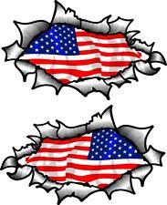 Small Pair Oval Ripped Torn Metal & American Stars & Stripes US Flag car sticker