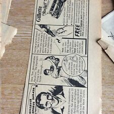 t1-9 ephemera 1950s advert gillette rocket set tom graveney gloucester