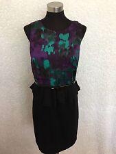 INC Dress Womens 10 Black Green Purple Jersey Peplum Belt Sleeveless Career