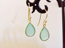 18K Gold on Sterling Silver Aqua Chalcedony Teardrop Dangle Earrings Gemstones