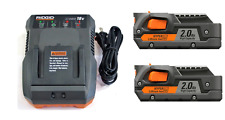 2 New Ridgid 18 Volt 2.0 Ah R840086 Batteries & 1 R86092 Battery Charger