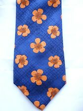 Original MARKS & SPENCER Krawatte, blau, orange Blüte, 100% Seide