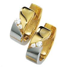 Damen Creolen 333 Gold Gelbgold bicolor mattiert 4 Zirkonia Ohrringe Goldcreolen