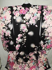 Japanese LARGE & TALL Black Silk FURISODE w/Roses, SAKURA, Lily B537
