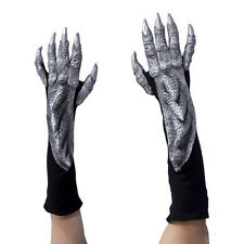 Silver Dragon Alien Reptile Claws Hands Cosplay Adult Halloween Costume Gloves