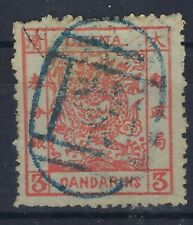 China 1878-83 Large Dragon 3ca used virtually full blue seal, repaired tear