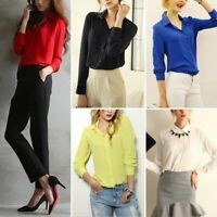 Ladies Bow Tie Neck Long Sleeve Casual Office Work Chiffon Blouse Shirts Tops US