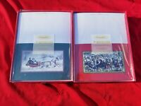 Vintage Currier Ives Greeting Cards: Xmas Ice Skating + Sleigh Ride winter lotx2